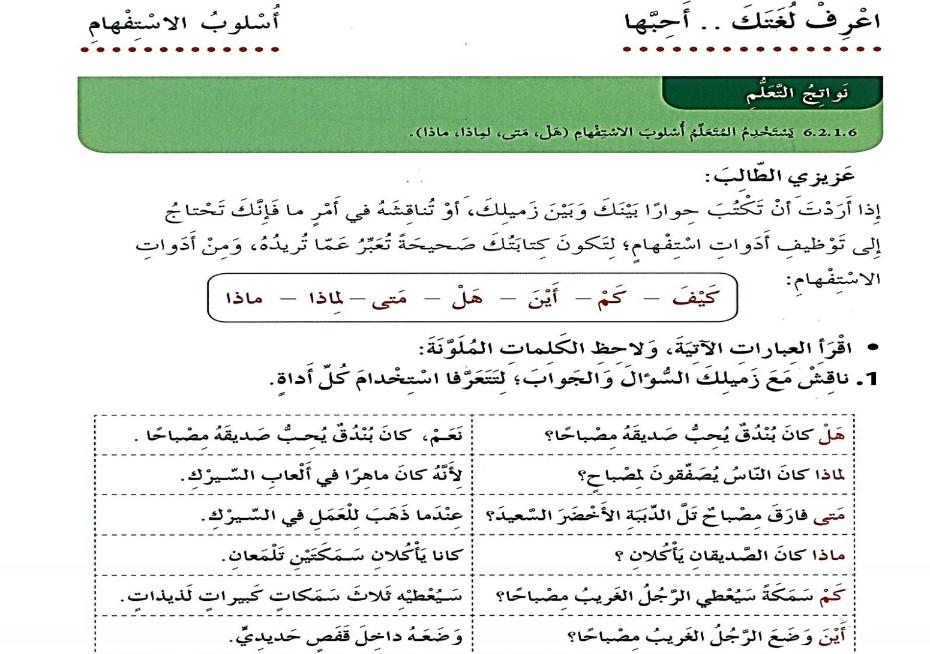 حل درس أسلوب الاستفهام لغة عربية صف ثالث