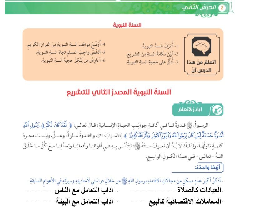 حل درس السنة النبوية تربية إسلامية صفعاشر