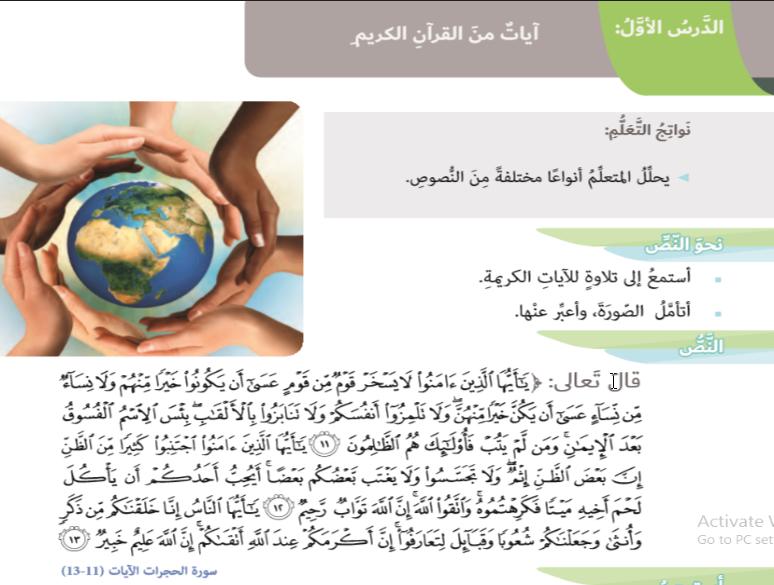 حل درس آيات من القرآن الكريم لغة عربية صف سادس