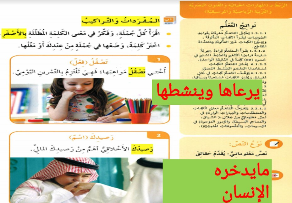 حل درس فكر في حياتك لغة عربية صف ثالث