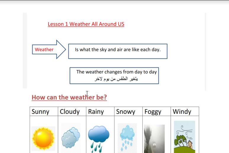 مراجعة شاملة للطقس علوم منهج إنجليزي صف أول فصل ثاني