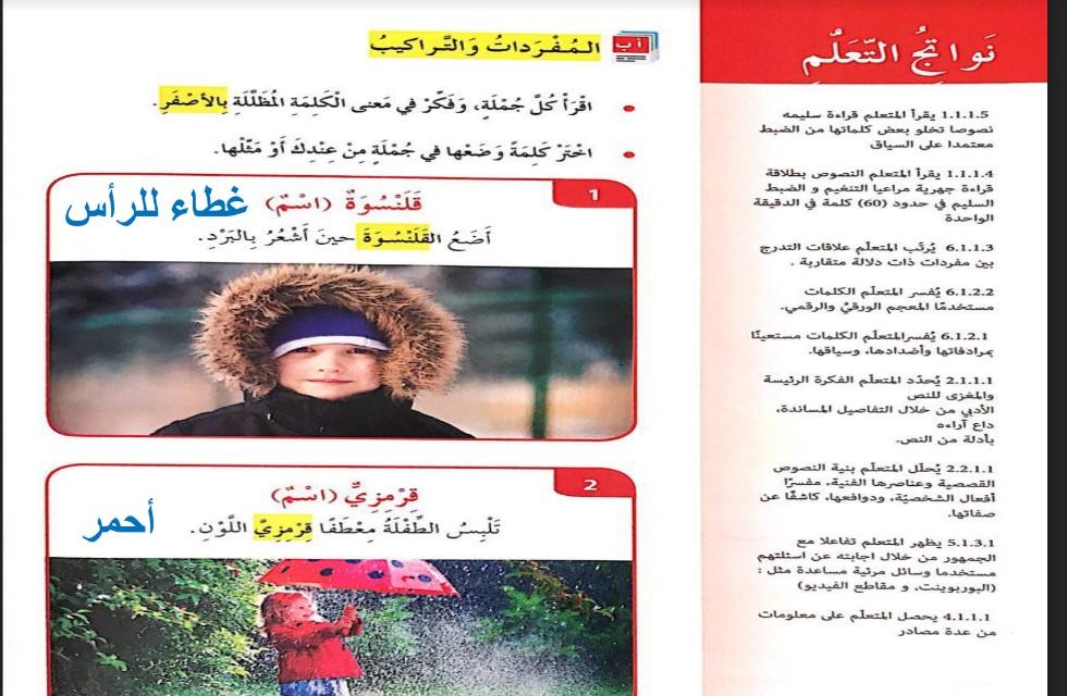 حل درس معطفي القرمزي لغة عربية صف رابع