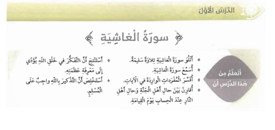 حل درس سورة الغاشية تربية إسلامية الصف رابع