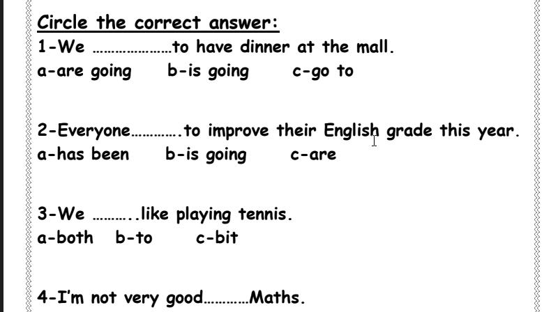 تدريبات قواعد لغة انجليزية الصف الخامس مع الحل الفصل الثاني