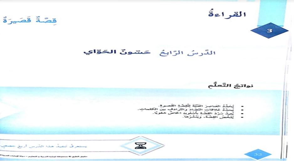 حل درس حسون الحواي لغة عربية صف سابع