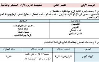 مذكرة علوم محلولة الوحدة الاولى الصف السادس الفصل الثاني