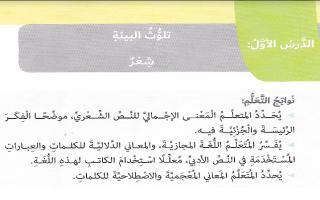 حل درس تلوث البيئة لغة عربية الصف السادس