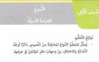 حل درس النبوغ لغة عربية الصف السادس