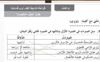 حل قصة ملك الحكايات عربي صف ثاني