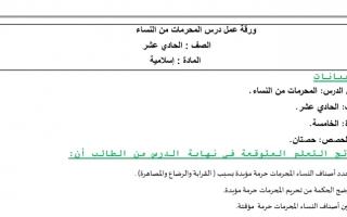 ورقة عمل درس المحرمات من النساء إسلامية صف حادي عشر فصل ثالث