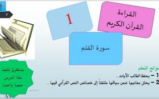 حل درس سورة القلم لغة عربية صف عاشر