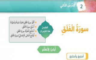 حل درس سورة الفلق تربية اسلامية اول فصل ثاني