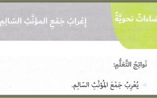 حل درس إعراب جمع المؤنث السالم لغة عربية الصف السادس