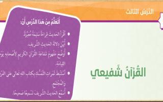 حل درس القرآن شفيعي تربية إسلامية الصف الخامس الفصل الثاني