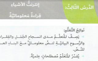 حل درس انترنت الأشياء لغة عربية الصف السادس