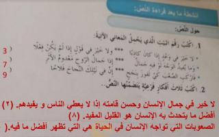 حل درس خير الكلام لغة عربية الصف السادس الفصل الثاني
