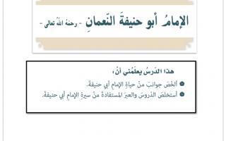 حل درس أبو حنيفة النعمان تربية  إسلامية الصف السابع