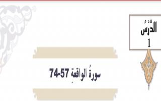 حل درس سورة الواقعة 57-74 تربية اسلامية الصف التاسع