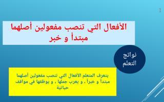 حل درس الأفعال التى تنصب مفعولين لغة عربية صف تاسع