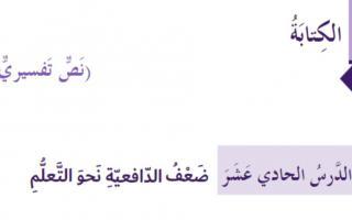 حل درس ضعف الدافعية نحو التعلم لغة عربية صف ثامن