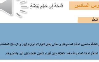 حل درس قمحة في حجم بيضة لغة عربية الصف السابع