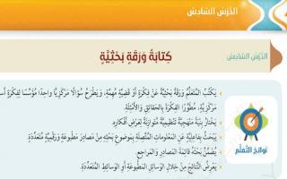 حل درس كتابة ورقة بحثية لغة عربية الصف السابع
