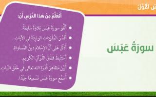 حل درس سوره عبس تربية إسلامية صف خامس