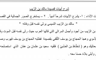 شرح قصيدة مالك بن الريب