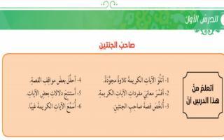حل درس صاحب الجنتين تربية إسلامية صف عاشر