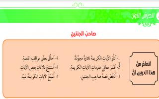 حل درس صاحب الجنتين تربية اسلامية للصف العاشر